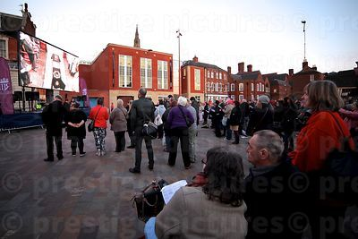 Crowds Watching the Richard III Service of Compline on a Big Video Screen in Jubilee Square, Leicester