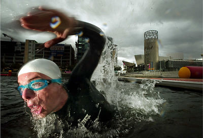 Ryan swimming in the Quays