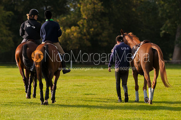 Riders exercising in the evening light - Burghley Horse trials 2011