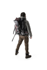 A man in outdoor clothing with a backpack, from behind – shot from eye level.