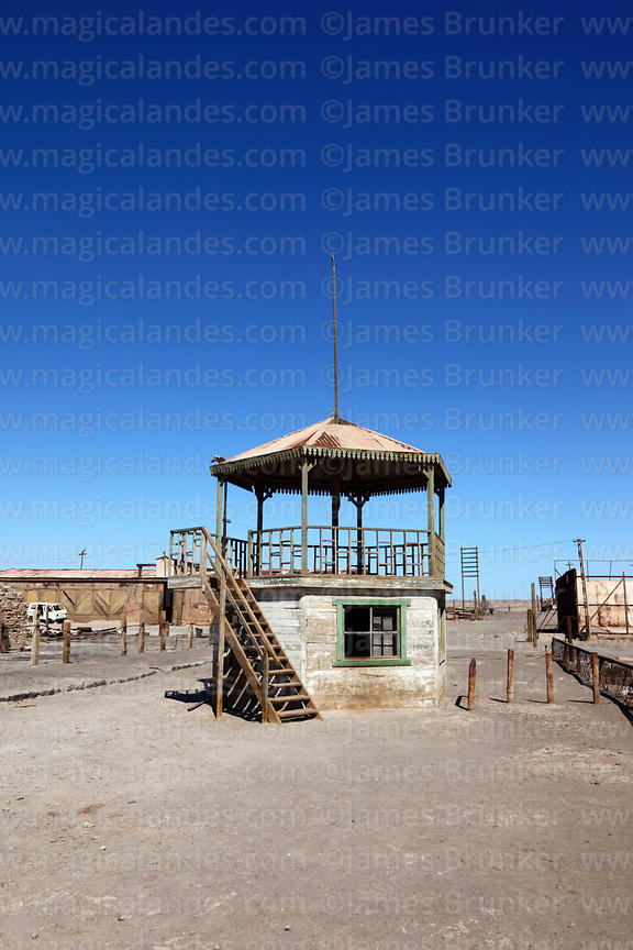 Bandstand in square of abandoned nitrate mining town of Humberstone, Region I, Chile