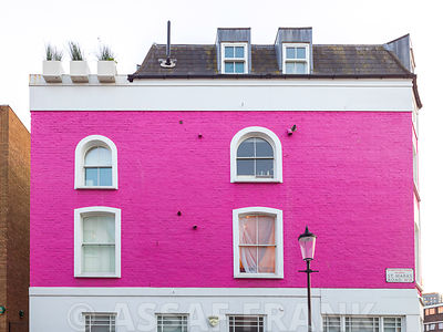 Colorful house with windows in Notting Hill, London