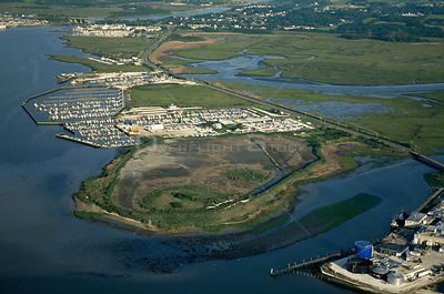 Aerial view of marina built in saltmarshes, Avalon, New Jersey, USA