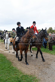 Sara Hercock, Tim Hercock leaving the meet. Quorn Hunt Opening Meet 2018