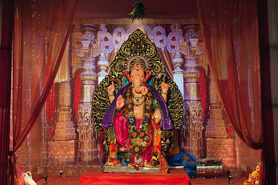 Beautiful Ganesh idol in a pandal in Lalbaug, Mumbai, India.
