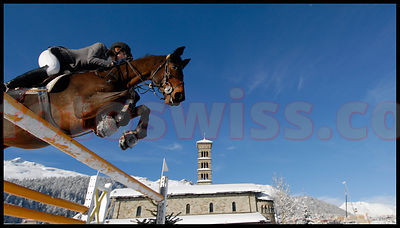 Concours Hippique, Horse Jumping, on Snow in St.Moritz Engadine