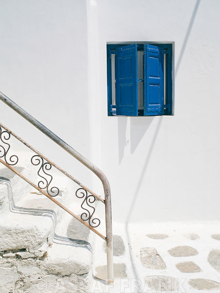 Mykonos, Greece, cyclades, Exterior of window with staircase