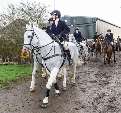 Frankie Wyatt leaving the meet. The Cottesmore Hunt at Launde Park Farm