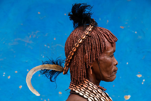 Portrait of a Hamar Woman with a Feather in her Headpiece