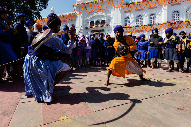 Nihang Sikhs Show their Skills with a Sword During the Festival of Holla Mohalla