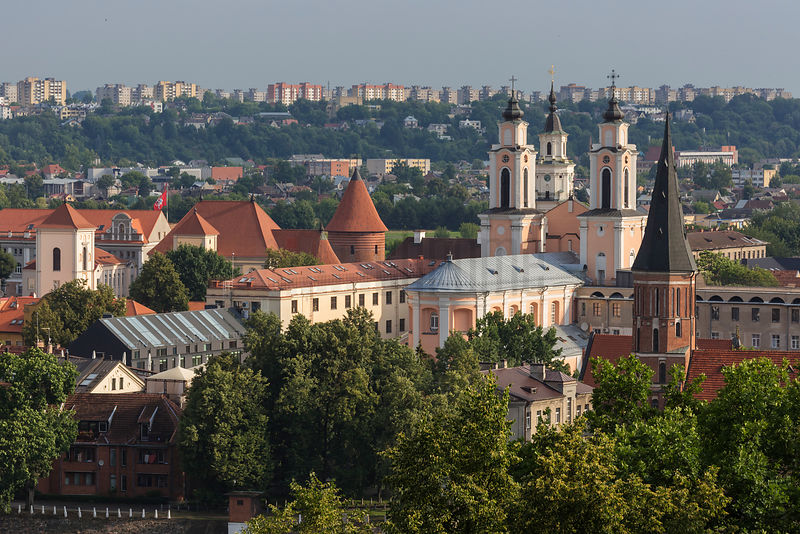 Elevated View of the Vytautas Great Church, Church of St. Francis Xavier and town hall