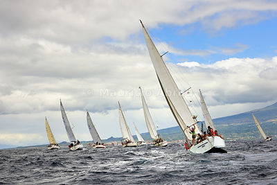 Regattas in the sea channel between Faial and Pico islands. Faial, Azores islands, Portugal
