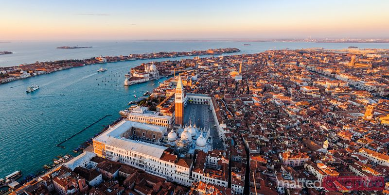 Panoramic sunrise over Venice, aerial view