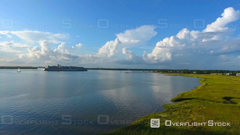 4k Cinematic Epic Aerial of Cargo Ship In Charleston SC