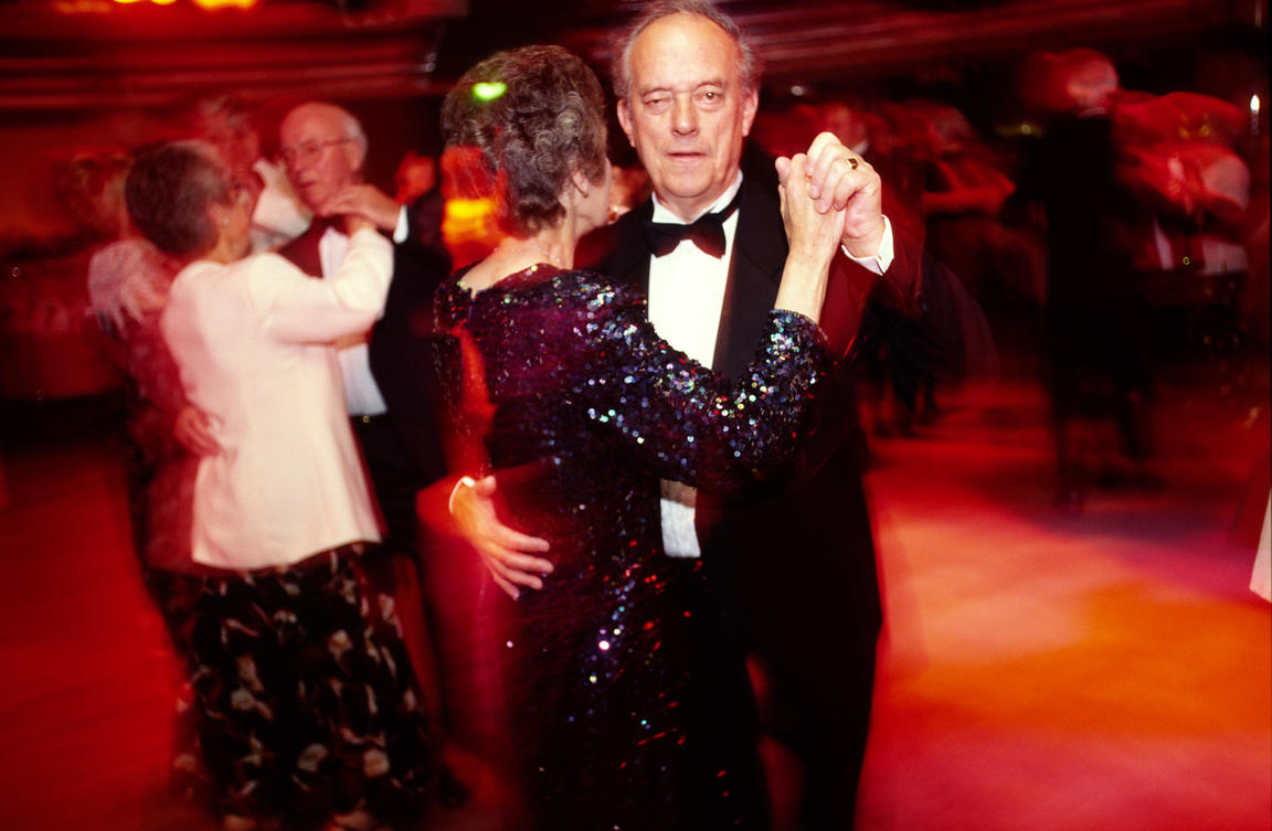 Passengers dance at a Black Tie Ball on board the P&O Cruise Liner Oriana