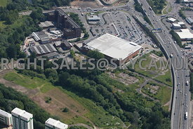 Stockport aerial photograph of Portwood and wasteland and Tesco supermarket and Meadow Mill Water Street