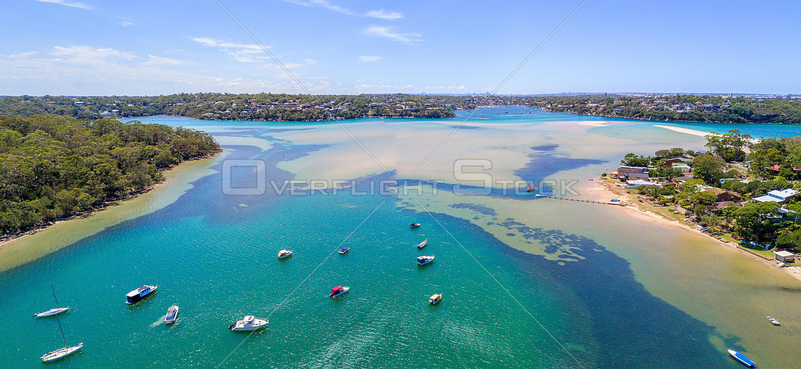 Sweeping scenic views across Port Hacking, South Sydney Australia on a beautiful summer day. NSW Australia