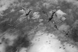 Spitfires swoop black and white version