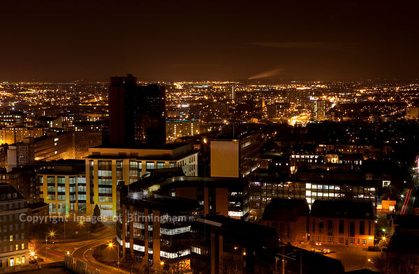View of Birmingham City Centre from Edgbaston area of the city.  West Midlands, England. Panoramic.