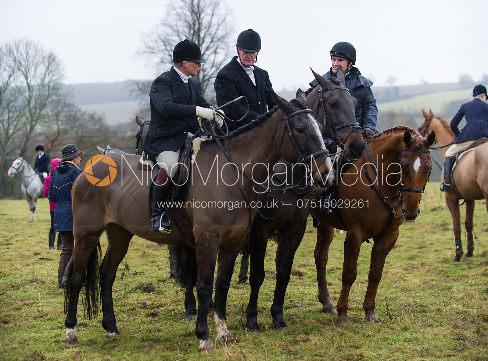 Martin Reason, Nick Townsend and Philip Johnson - The Cottesmore Hunt at Belton-in-Rutland 21/12