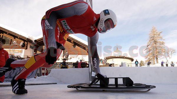 Skeleton on Olympia Bob Run of St. Moritz