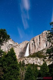 Upper Yosemite Fall illuminated by the moonlight,  Yosemite NP
