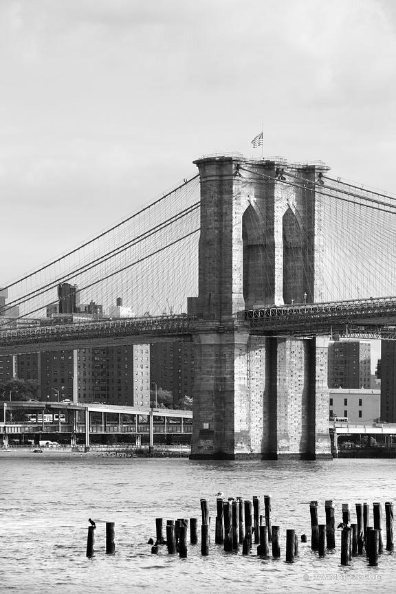 BROOKLYN BRIDGE NEW YORK CITY NEW YORK BLACK AND WHITE VERTICAL