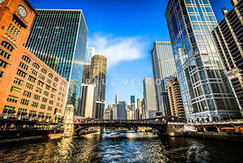 Picture of Chicago River Skyline at Clark Street Bridge