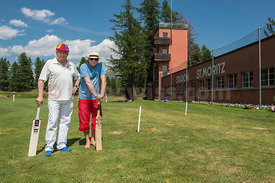Rolf Sachs mit Christian jenny am Cricket Day in St.Moritz