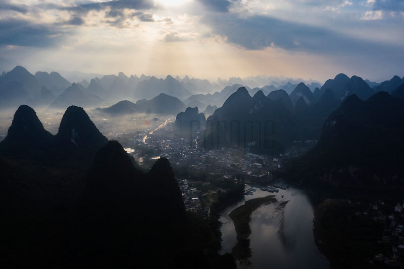 Elevated View of Karst Mountains at the Li River Scenic Area