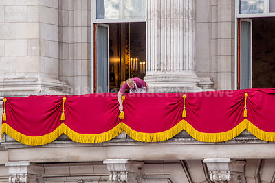 Workmen prepping the Royal Family balcony