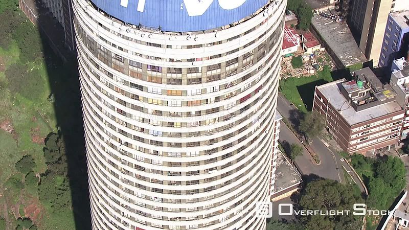 Aerial shot over the top of the Ponte building in Johannesburg Johannesburg Gauteng South Africa