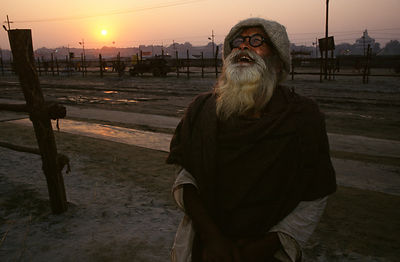 India - Allahbad - A laughing pilgrim at the Ardh Kumbh Mela 1995, Allahbad, India