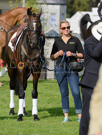 Anke Hoyer and CLIFTON PROMISE - prize giving, Burghley Horse Trials 2014.
