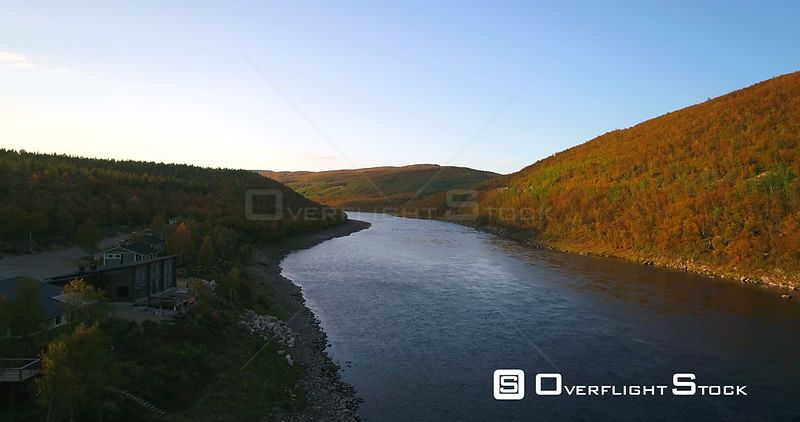 Autumn River, Aerial Rising View Over Tenojoki River at the Border Between Norway and Utsjoki Town, on a Sunny Autumn Day, in...
