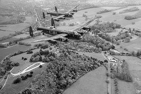 Two Lancasters over West Wycombe black and white version
