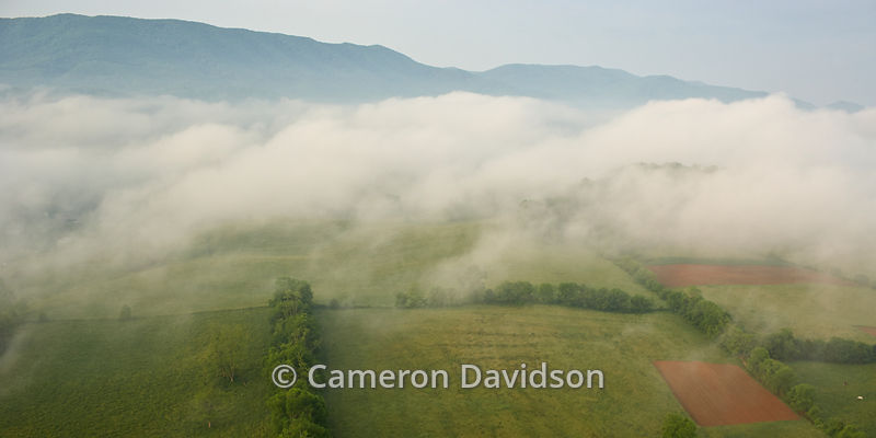 Aerial of Southern Virginia fields with fog
