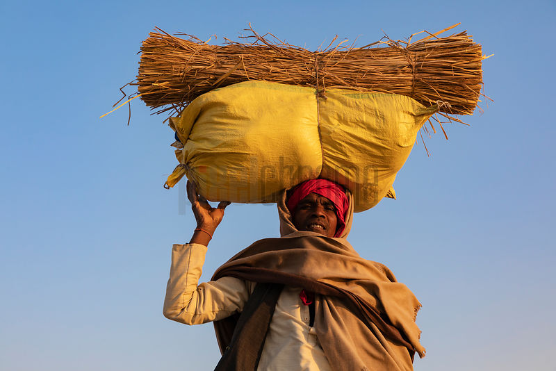 Bihari Man Carrying a Load on his Head