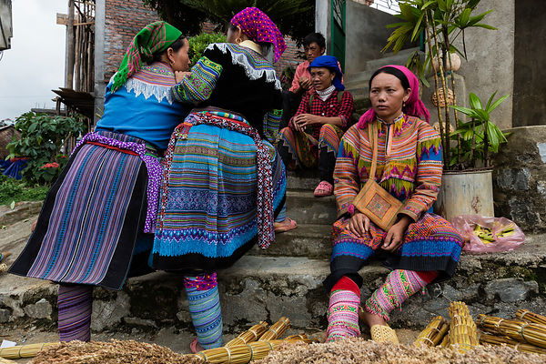 Women From the Flower Hmong Tribe in a Discussion