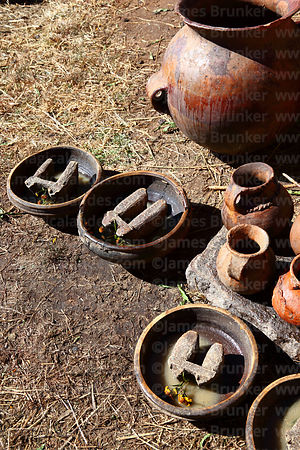 Special ritual ceramic bowls with bull symbols inside for drinking chicha / traditional maize beer at festivals, Bolivia