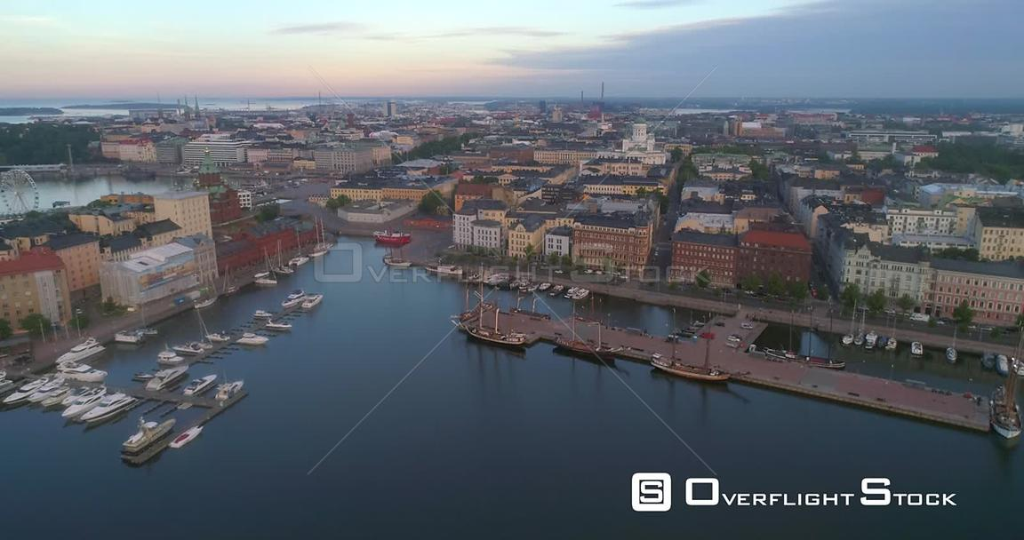 Morning in a City, Aerial Tilt Out View of the Cityscape and Churches of Helsinki, on a Sunny Summer Sunrise and Dawn, in Hel...