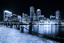Blue Boston Skyline at Night and Harborwalk Photo