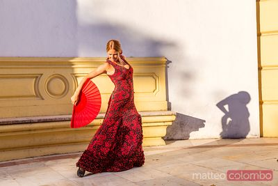 Flamenco dancer performing outdoors, Seville, Andalusia, Spain