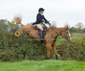 Annie Bellamy jumping a hedge near the meet in Long Clawson