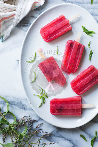 Raspberry lemon verbena popsicles.