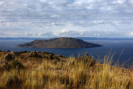 Amantani Island, seen from summit of Cerro Carus, Capachica Peninsula, Lake Titicaca, Peru