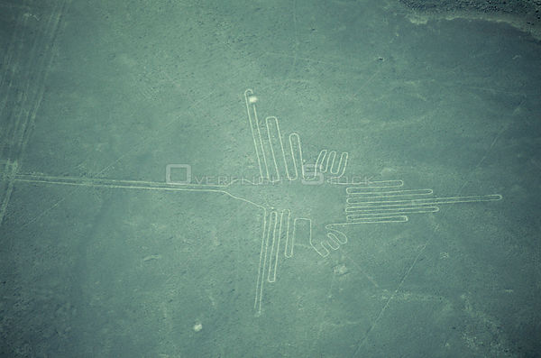 Aerial view of the Hummingbird, ancient Nasca Lines, Inca, Peru
