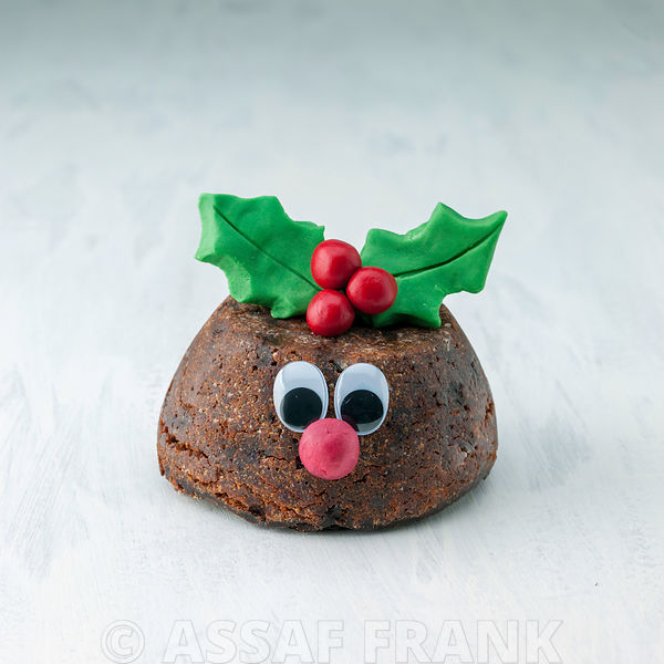 Beautifully decorated Christmas pudding