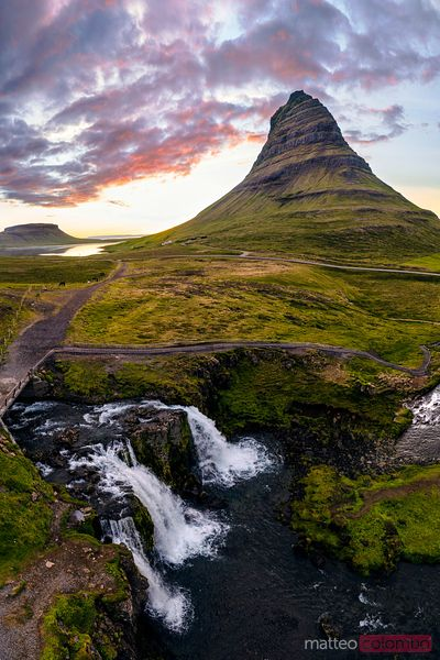 Aerial view of mount Kirkjufell and waterfalls, Iceland