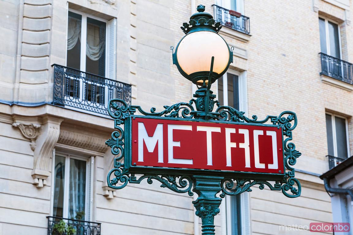 Metro signpost in Paris, France